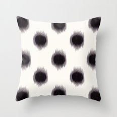 Ikat Dots Black and White Throw Pillow