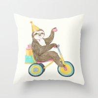 birthday sloth Throw Pillow