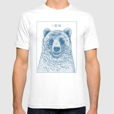 Bear (Ivory) White Mens Fitted Tee SMALL