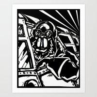 Monkey Pilot Black & Whi… Art Print