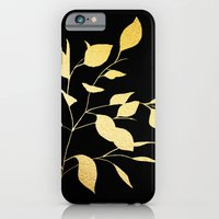 Leaves Gold on Black iPhone 6 Slim Case