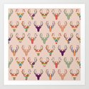 retro deer head blush Art Print