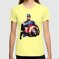 Polygon Heroes - Captain America Womens Fitted Tee Lemon SMALL