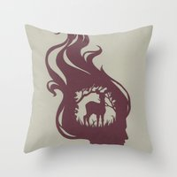 Deer Girl Throw Pillow