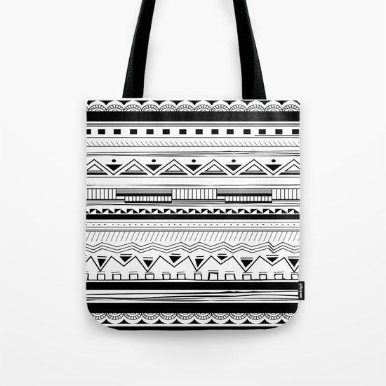 Tribal Pattern Black Tote Bag