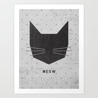 bird Art Prints featuring MEOW by Wesley Bird