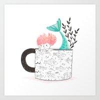 Mermaid in a Teacup Art Print