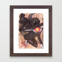Capricorn, The Ambitious Goat: Dec 22 - Jan 20 / Original Gouache On Paper Framed Art Print