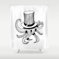 Squid is lost in hat Shower Curtain