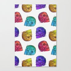 Rainbow Crystal Skulls Pattern Canvas Print