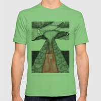 Robot Volcano Mens Fitted Tee Grass SMALL