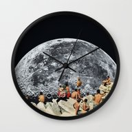 Wall Clock featuring MOONRISE  by Beth Hoeckel Collage…