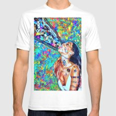 Tribal Shout SMALL White Mens Fitted Tee