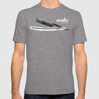 WAKE - SLICE 'EM THIN Mens Fitted Tee Tri-Grey SMALL