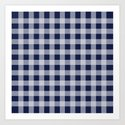 Checker Cross Squares Navy Blue Art Print