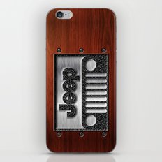 Embossed Steel Jeep logo with wood background iPhone 4 4s 5 5c 6, pillow case, mugs and tshirt iPhone & iPod Skin