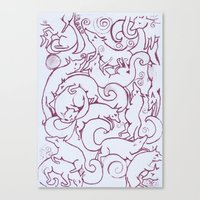 Fox Pattern Screen Print Canvas Print