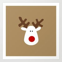Christmas Reindeer-Brown Art Print