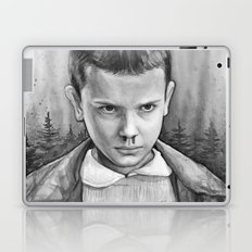 Stranger Things Eleven Watercolor Painting Black and White Laptop & iPad Skin