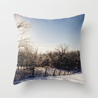 Frozen Countryside Throw Pillow