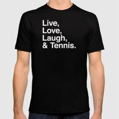Live Love Laugh and Tennis Mens Fitted Tee Black SMALL