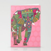 Painted Elephant Pink Stationery Cards