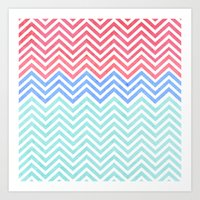 Chevron Blue and Red vintage Art Print