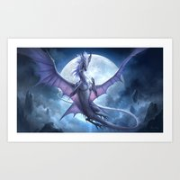 White Dragon v2 Art Print
