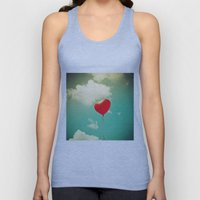 Red Heart Balloon in a Vintage Turquoise Sky  Unisex Tank Top