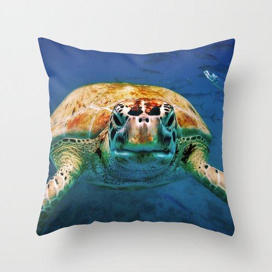 Bajan Turtle Throw Pillow