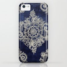 Cream Floral Moroccan Pattern on Deep Indigo Ink iPhone 5c Slim Case
