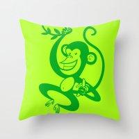 Green Monkey Throw Pillow