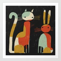 CAT AND BUNNY Art Print