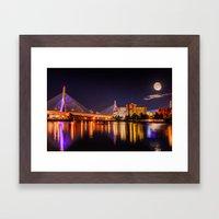 Moon light over Zakim bridge Framed Art Print