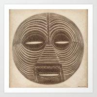 African Luba Mask Art Print