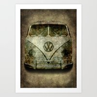 Classic VW  micro bus with battle scars and a distressed patina Art Print
