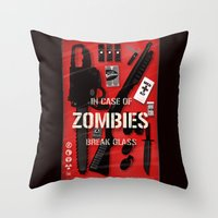 Zombie Emergency Kit Throw Pillow