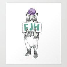 FJH-bear sign Art Print