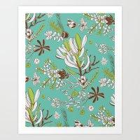 Teal Cradle Flora Art Print