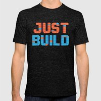 Just Build Mens Fitted Tee Tri-Black SMALL