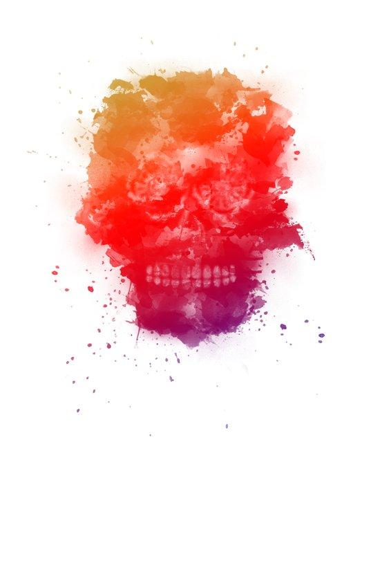 Rainbow Splatter Skull Canvas Print