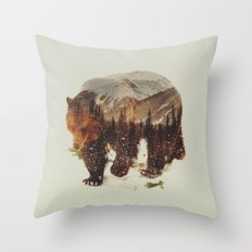 Wild Grizzly Bear Throw Pillow