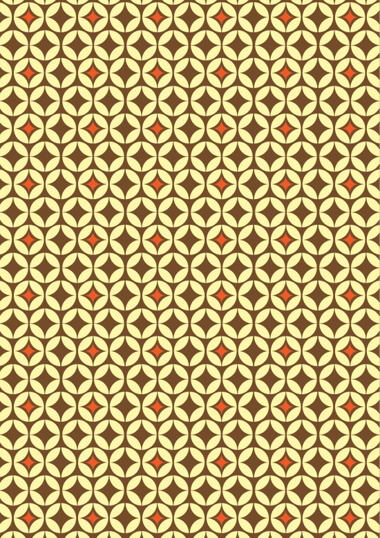 Repeated Retro - brown Art Print