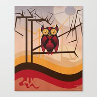 Red Owl At Dusk Canvas Print