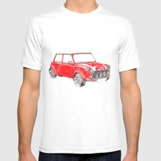 Red Mini Cooper White Mens Fitted Tee SMALL