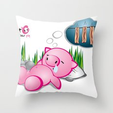Berto: The Mental-issue pig taking a nap Throw Pillow