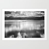 Magical waters at the lake. Monochrome Art Print