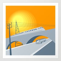 Train Bus Viaduct Retro Art Print