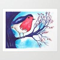 Little Fat Robin Art Print