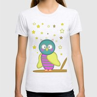 Good Night Little Owl Womens Fitted Tee Ash Grey SMALL